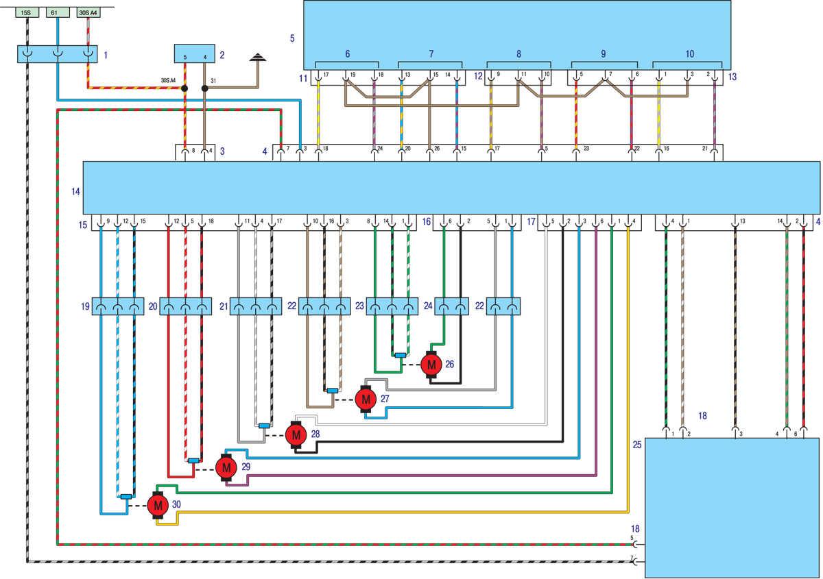 3) центральный дефлектор с центральным регулировочным колесиком, с регулировкой горячий/холодный воздух, с